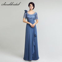 Elegant Chiffon Long Mother of the Bride Dresses Lace Top A Line Short Sleeves Floor Length Women Formal Evening Gowns Hot LX274