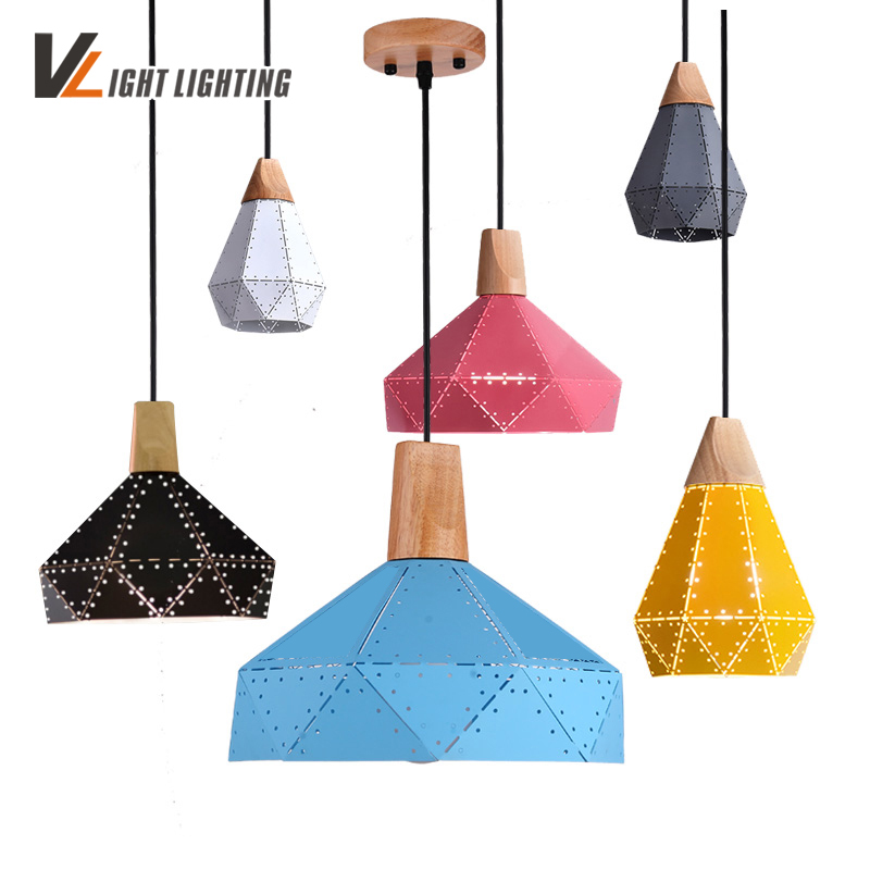 Modern Colorful  Pendant Lamp Restaurant Coffee Bedroom Dining Room Retro Pendant Lights Iron Real Wood Material AC110V/220V E27 loft dining room pendant lamps modern restaurant ceiling lamp coffee bedroom living room pendant lights e27 led home decor