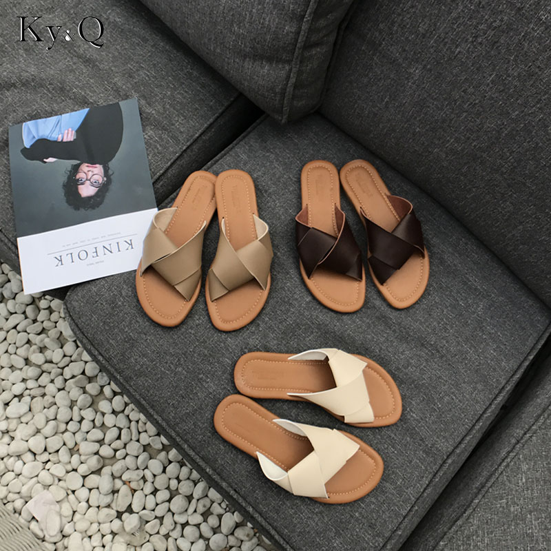 88cab0f0eb6a Women Slippers Casual Flat Women Shoes Slip On Slides Brand Slippers  Leather Beach Sandals Home Flip Flops in Pakistan