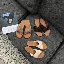 Women Slippers Casual Flat Women Shoes Slip On Slides Brand Slippers Leather Beach Sandals Home Flip Flops
