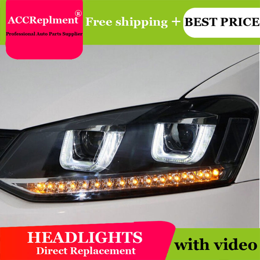 AUTO.PRO For VW Polo Headlights U Angel Eyes 2011-2015 For VW Polo LED Light Bar Q5 Bi Xenon Lens LED Bulb Car Styling Projector