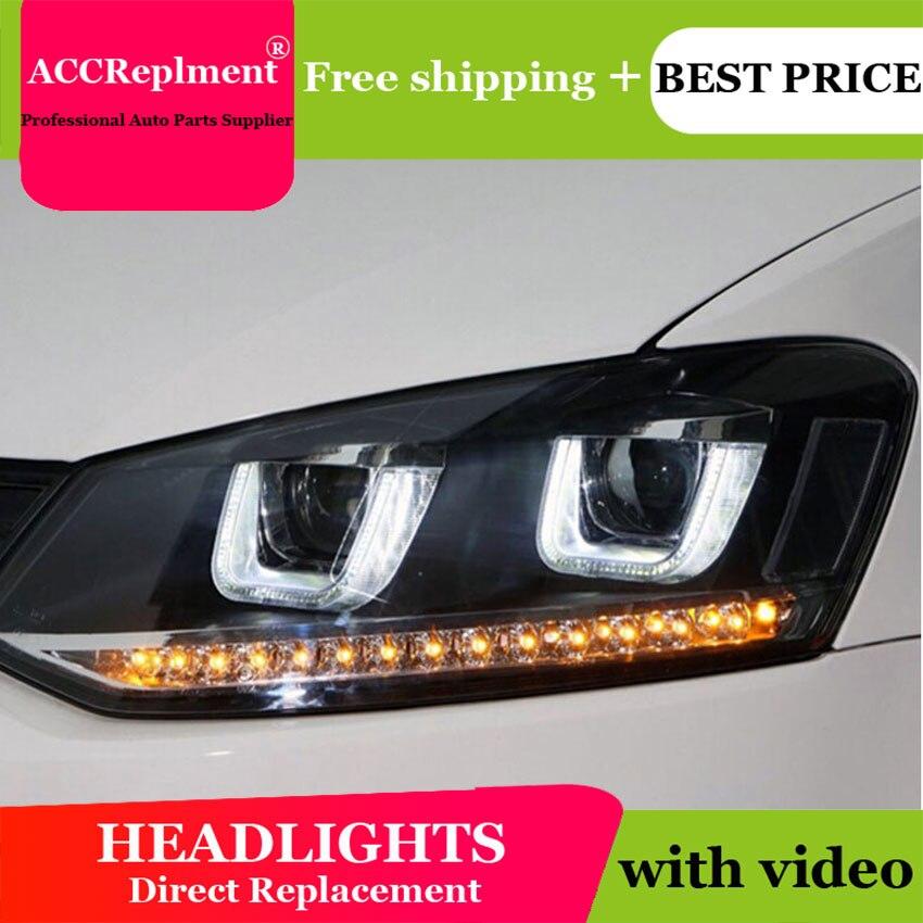 Авто. PRO для VW polo фары U глаза ангела 2011 2015 для VW polo светодиодный свет бар Q5 bi xenon объектива светодиодный лампы стайлинга автомобилей проектор