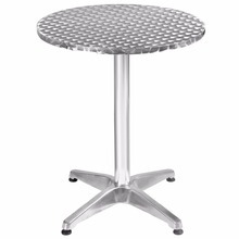 Goplus 23 1/2″ Aluminum Stainless Steel Round Table Patio Bar Pub Restaurant  OP2796