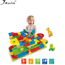 [My Style] 2019 Funny DIY Race Run Track Colorful Construction Balls Rolling Building Blocks Compatible LegoINGly Duploe