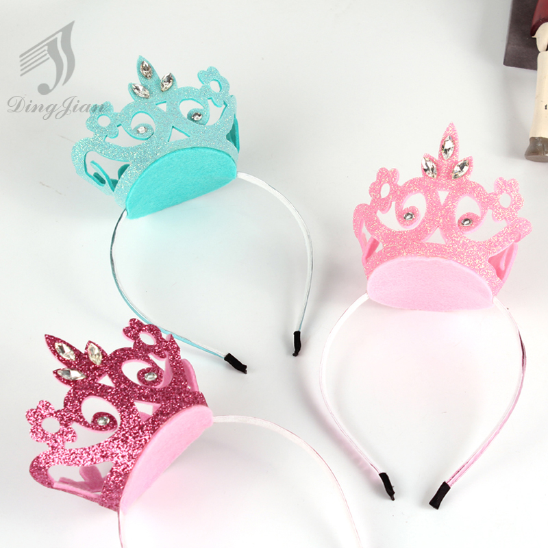 4Pcs Lovely Princess Crystal Crown Solid Hairband Kids Hair Accessories  Children Party Birthday Hair Clip Girl Hairpins A02280