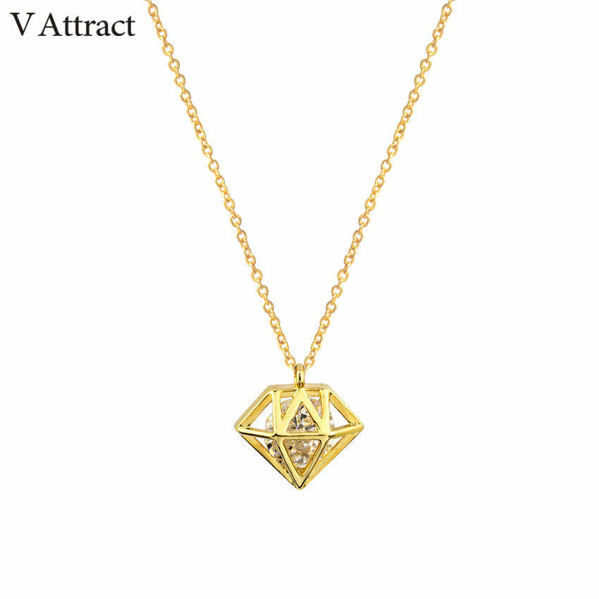 V Attract Wedding Jewelry Geometric Statement Necklace Vitnage Classic Jewelry AAA Cubic Zirconia Clavicle Necklace Bride Gift