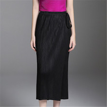 Miyake folds straight casual trousers loose pleated light blue large size wild ladies wide leg pants legs