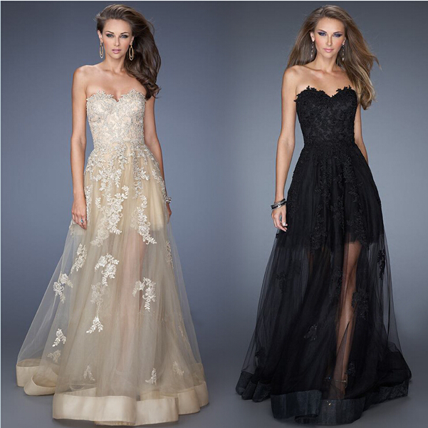 US $70.0 |Flower Lace Sleeveless Long Transparent Party Dresses Plus size  Black Champagne Plus size-in Bridesmaid Dresses from Weddings & Events on  ...