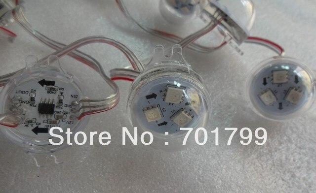 Promotion!!! 20pcs WS2811 3leds rgb pixel led module,transparent cover,DC12V,30mm diameter;with transparent wire