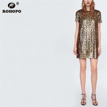 ROHOPO Women Gold Sequine Leopard Straight Dress Double Layers Sexu Casual Loose Vestido Elegant Mini Short Sleeve #CW8940