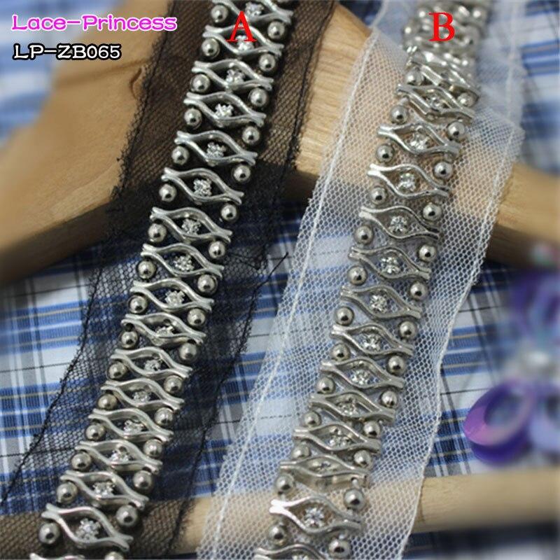 1 cour 2 CM noir blanc tissu argent forage vêtements accessoires collier de  fleur de BRICOLAGE à la main perles Tresse dentelle garniture tissu ZB065 6c6fcfeac35