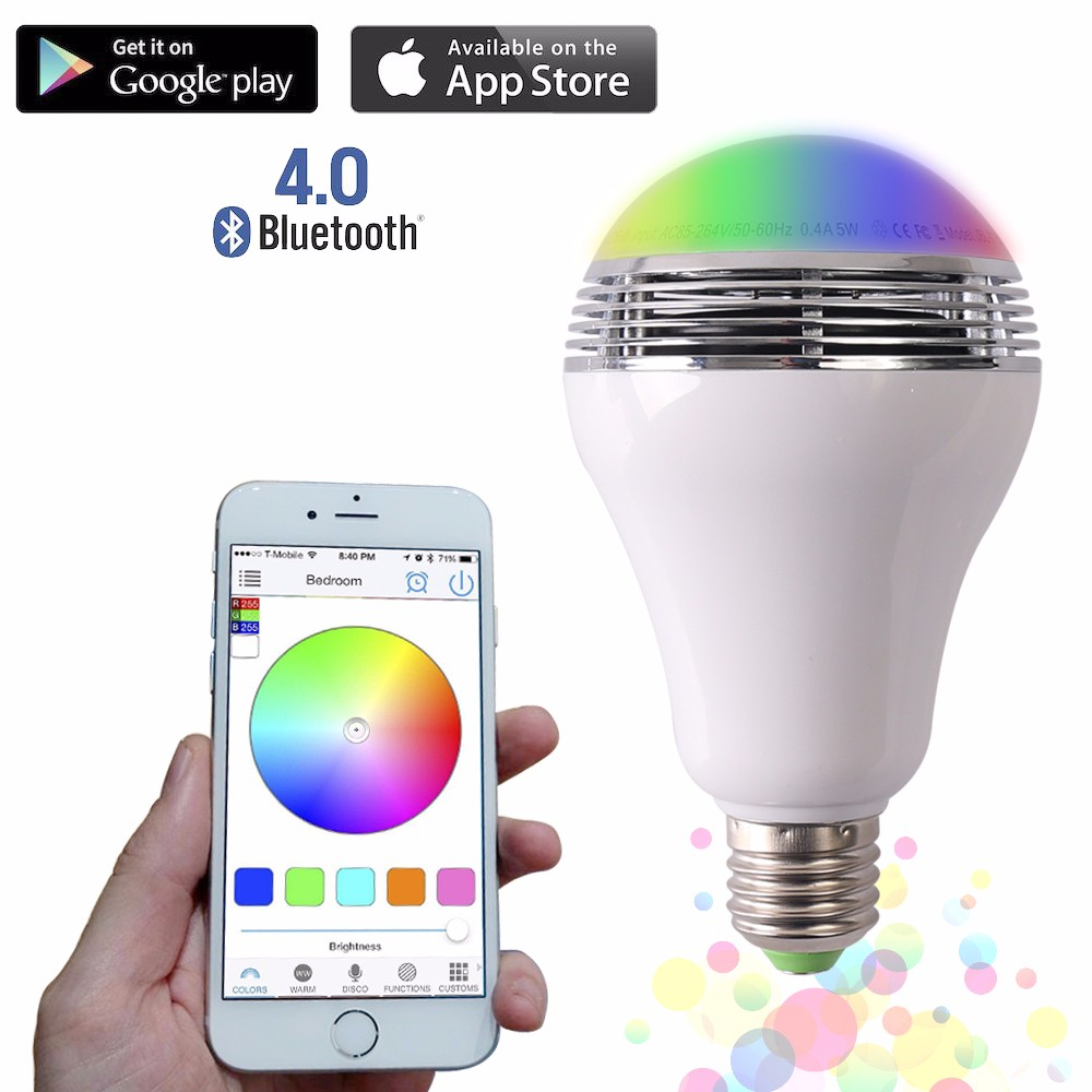 Smart LED Bulb Bluetooth Speaker LED RGB Light E27 Base Wireless Music Player with APP Remote Control smart bulb e27 led rgb light wireless music led lamp bluetooth color changing bulb app control android ios smartphone