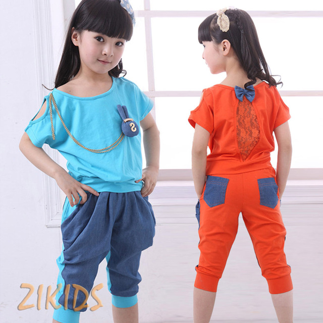 Conjuntos de Roupas de moda Meninas Coreano Bonito Coelho 3D Cadeia Tops Lace T-shirt + Cinco Calças de Verão para Crianças Marcas crianças Roupas Ternos