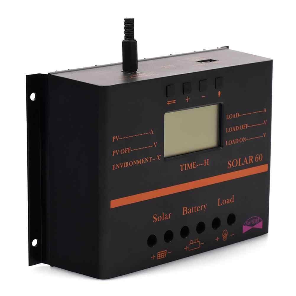 PWM 60A controlador de carga Solar 12 V 24 V LCD pantalla USB 5 V regulador de carga del Panel Solar + 5 pares MC4 M/F Solar Panel Cable