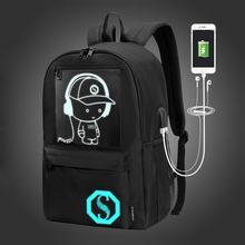 Student Travel Backpack Men Music Voice Control Anime Luminous USB Charge Laptop Computer For Teenager Boys School Bag