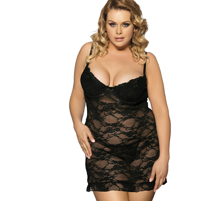 XXXXXL 5XL Plus size Women's Sleep Lounge wear v neck   Nightgowns     Sleepshirts   Sexy sleeping dress lace   nightgown  + T-back