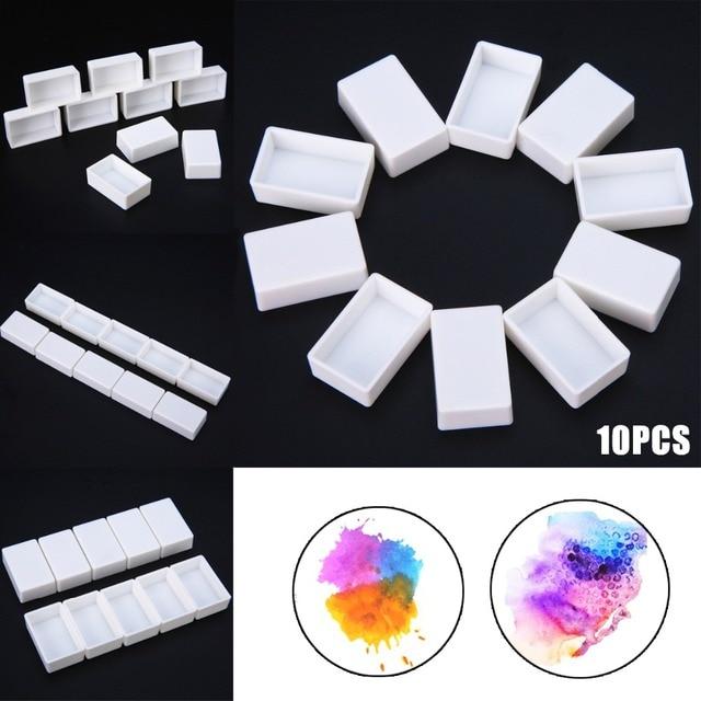 10/40 piezas de sartenes vacíos blancos media sartenes pintura de plástico acuarela vacía completa o media pintura