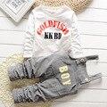 2015 новое поступление мальчиков устанавливает письмо хлопок ремень костюм корея детская одежда детей-наборы открытым промежность