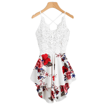 40abcca195e ... Dotfashion Dotfashion Dotfashion Crochet Lace Panel Bow Tie Back  Florals Romper Womens V Neck Criss Cr