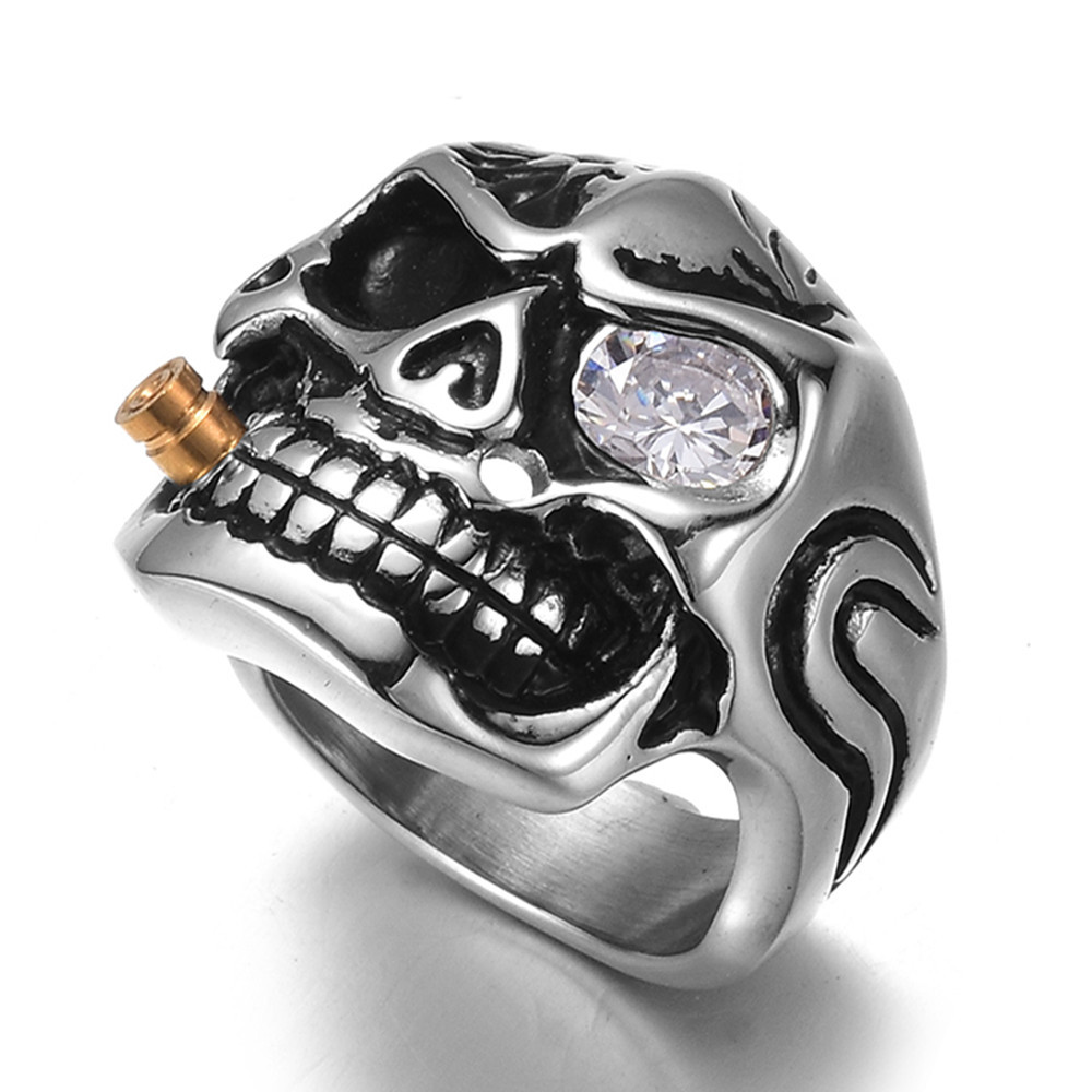 Qevila New Fashion Punk Domineering Smokes Skull Head Finger Ring For Men Knuckle Gothic Jewelry Silver Color Biker Rings Male (2)