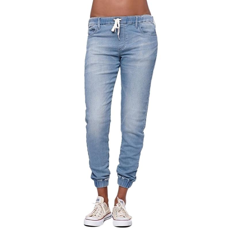 2018 new hotsale fashion Women Casual Jogger Pants Drawstring Elastic Waisted Jeans Solid Ladies Denim Pants Slim Leggings Pants