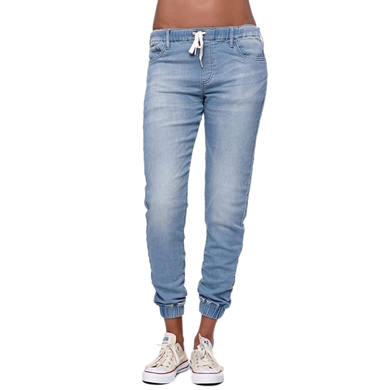2018 new hotsale fashion Women Casual Jogger Pants Drawstring Elastic Waisted   Jeans   Solid Ladies Denim Pants Slim Leggings Pants