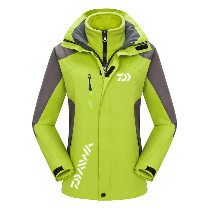 2019 New Arrival Women Outdoor Daiwa Fishing Clothing Autumn Winter Warm Fishing Jackets Patchwork Hooded Mountaineering Suit