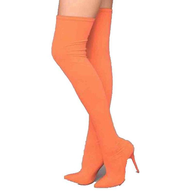 Anovishana Altas Stretch Y Del Muslo Otoño Red Alta Estrecha Tacones Estilete orange T Caramelo En De Primavera Botas Color rose Green Tirar Punta Ins Rodilla rU8xIrq