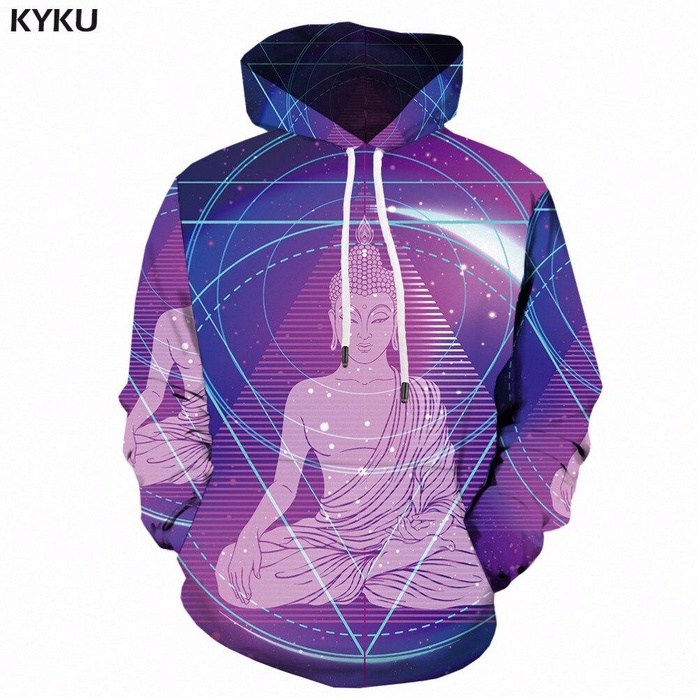 KYKU Buddha Hoodie Men Hip Hop 3d Hoodies Purple Character Printed Sweatshirt Casual Space Mens Clothing Hooded Streetwear New hoodie
