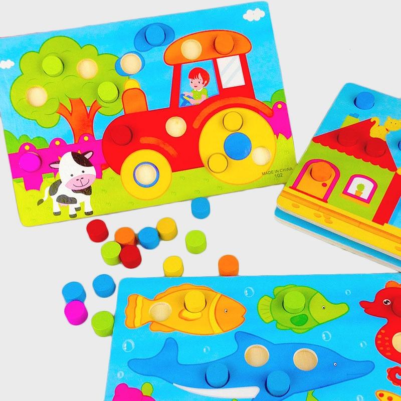 Лидер продаж обучения Цвет соответствующие деревянные головоломки Tangram доска мультфильм Игрушечные лошадки