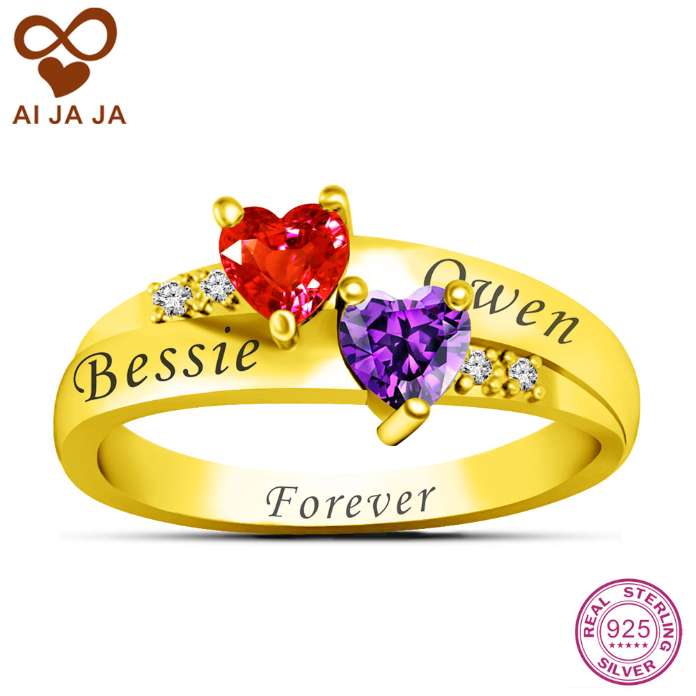 Aijaja Personalized 925 Sterling Silver Names & Birthstones Engraved  Rings Custom Special Wedding Rings For