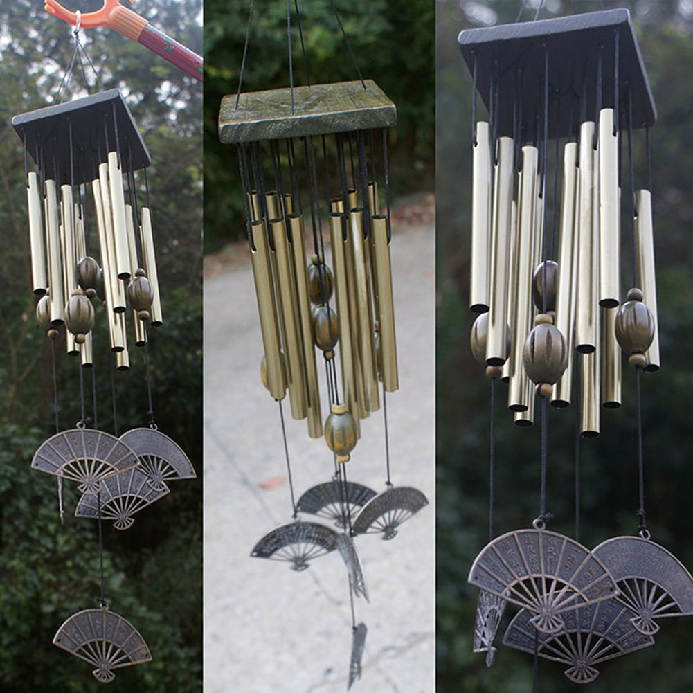 Outdoor living yard garden 12 tubes bells copper decor for Copper decorations home