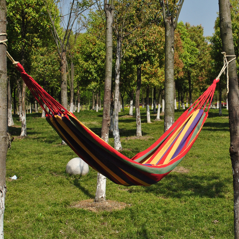 High quanlity portable outdoor colorful canvas hammock swings special for single person swing