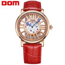 DOM marca de lujo impermeable de los relojes de estilo esqueleto de oro reloj de cuarzo de cuero de las mujeres
