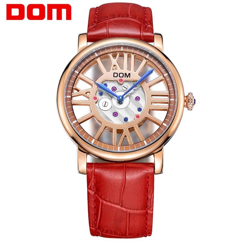 Relojes de marca de lujo DOM estilo impermeable cuero oro esqueleto cuarzo reloj mujeres G 1031-in Relojes de mujer from Relojes de pulsera    1