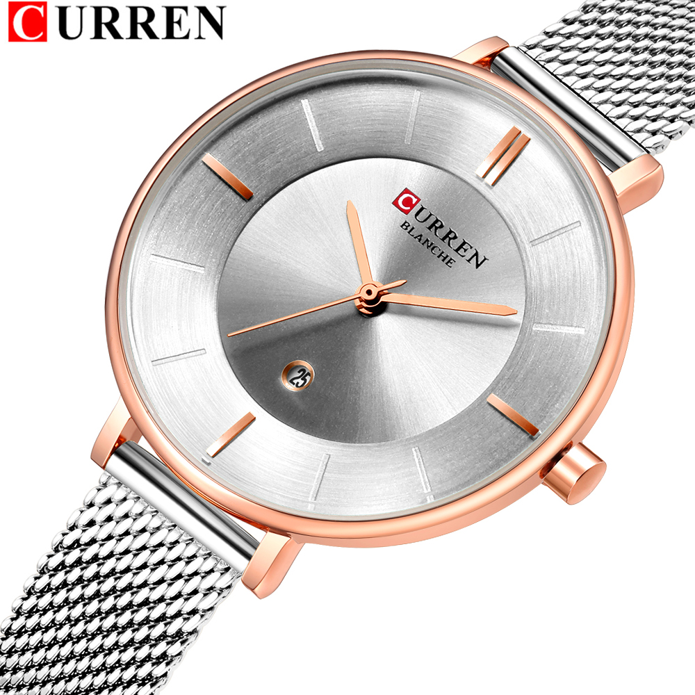 CURREN Women Fashion Watch Creative Lady Casual Watches Stainless Steel Mesh Band Stylish Desgin Silver Quartz Watch For Female