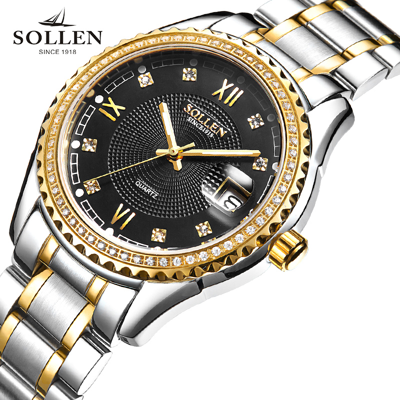 SOLLEN Brand Luxury Fashion watches Men Full stainless steel Business Sport Watch waterproof relogio masculino quartz Wristwatch украина дом в кировоградской обл александрийский район