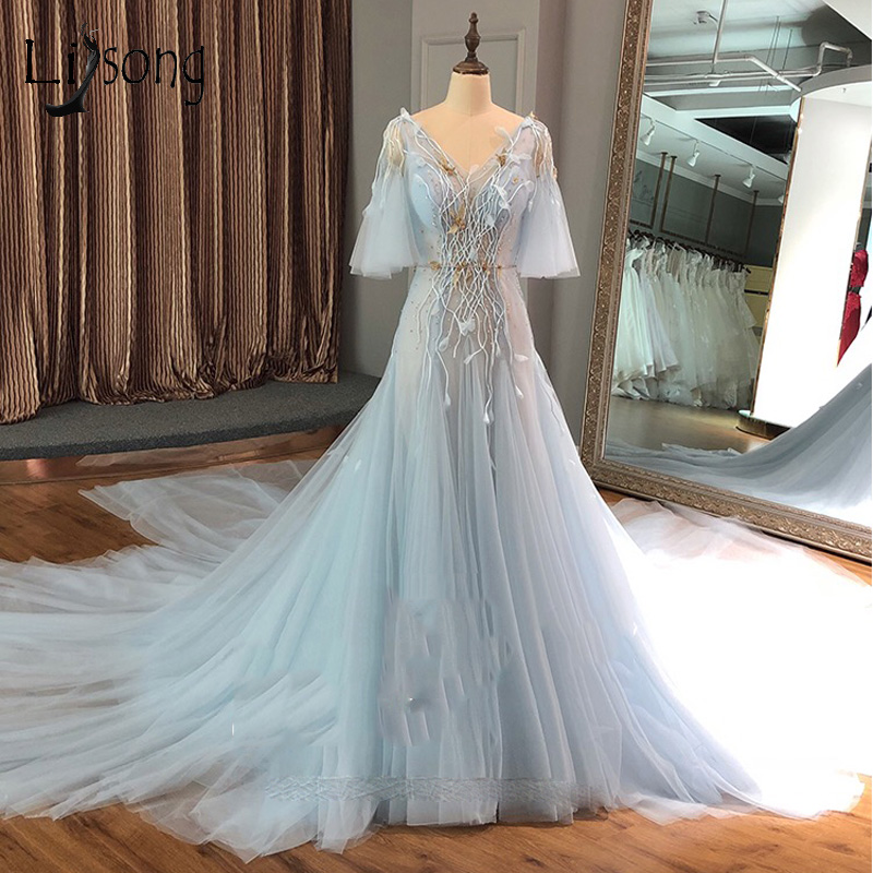 2018 Pretty Sky Blue 3D Flower   Prom     Dresses   Half Puffy Sleeves Double V-neck Crystal Lace Backless   Prom   Gown Abendkleider