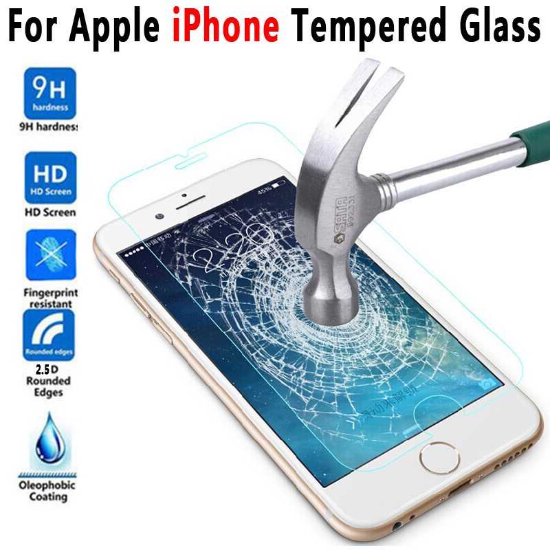 0.3mm 2.5D HD 9H Tempered Glass for Apple iPhone 4 4s 5 5s SE 6 6s 6 Plus 6s Plus 7 8 Plus Screen Protector for iPhone X 10 Ten