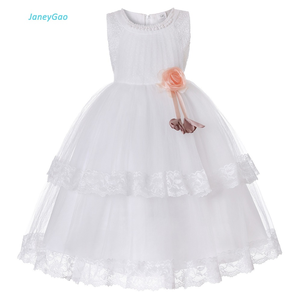 JaneyGao   Flower     Girl     Dresses   For Wedding Party White   Girl     Dresses   Party Gown First Communion   Dresses   Teenage   Girl   Formal   Dresses