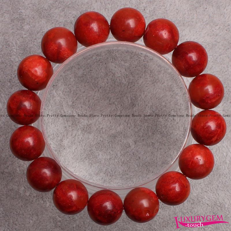 "High Quality 8,10,12,14mm Natural Red Grass Coral Gems Elasticity Bracelets 7.5"" w3600"