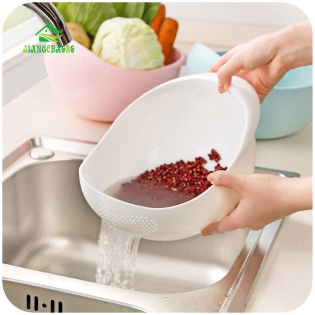 Super Practical!! Creative Fashion Wash Rice Sieve Bright Kitchen Plastic Drain Vegatable Basket  Kitchen Basket Strainer Gadget