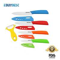 EBUYBEST Brand Colorful Kitchen Knives Set 3 4 5 6 Inch Peeler Covers White Blade ABS