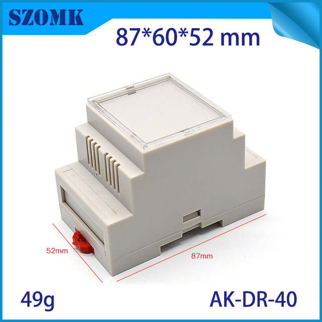 1 piece, 87*60*52mm din rail plastic box enclosure junction box electronics plastic control housing PLC device enclosure