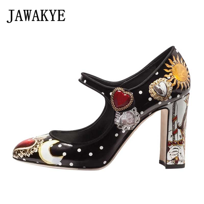 Spring summer rhinestone pumps Women printed flowers high heels 2019 runway design love heart bridal crystal