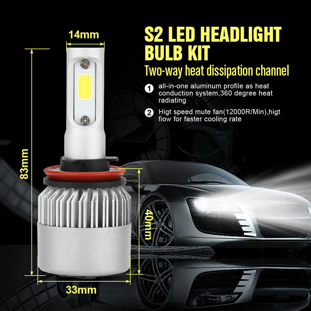 2Pcs ECAHAYAKU Super bright Car LED Headlight Bulb Kit H1 H4 H7 H11 9006 HB4 9005 HB3 Each Pair 72W 7600lm for Fog lamp bulb 12V