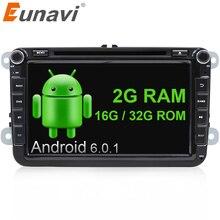 Eunavi 2G RAM 2 Din Android 6.0 dvd del coche de vw para Jetta Polo VW passat b6 cc Tiguan fabia espejo enlace bluetooth wifi Radio en dash