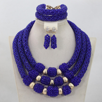 New Fashion Royal Blue Crystal 3 Rows Handmade Beads Jewelry Sets African Wedding Party Necklace Jewelry Set Free ShippingABL882