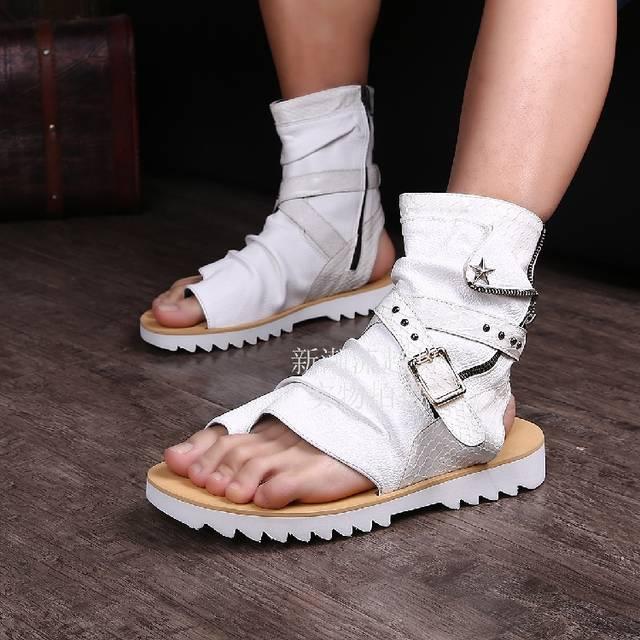 4c50eb629756 Online Shop 2017 Sandalias Homb Black White Gold Mens Shoes Casual Thong Beach  Sandal Open Toe Flat Ankle Boots Summer Leather Sandals Men