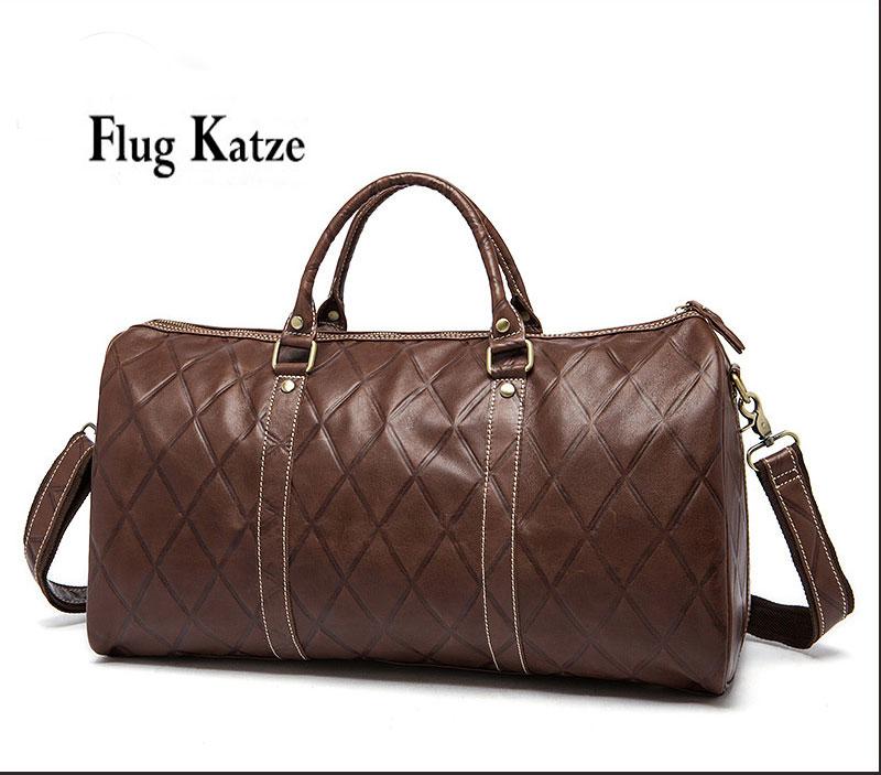 Flug katze High Quality Men Travel Bag genuine Leather Fashion Male Handbag Vintage Shoulder Bag Brands Men Messenger Duffel Bag
